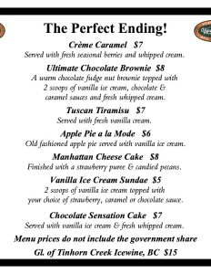 Westward Ho! dessert menu December 2015